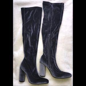 Velvet Over The Knee Boots - new, never worn
